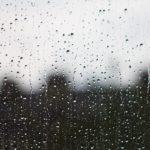 窓ガラスに雨粒がついている