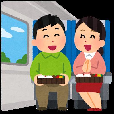 お弁当を食べながらカップル二人で仲良くお弁当を食べている