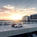朝日が眩しい立体駐車場