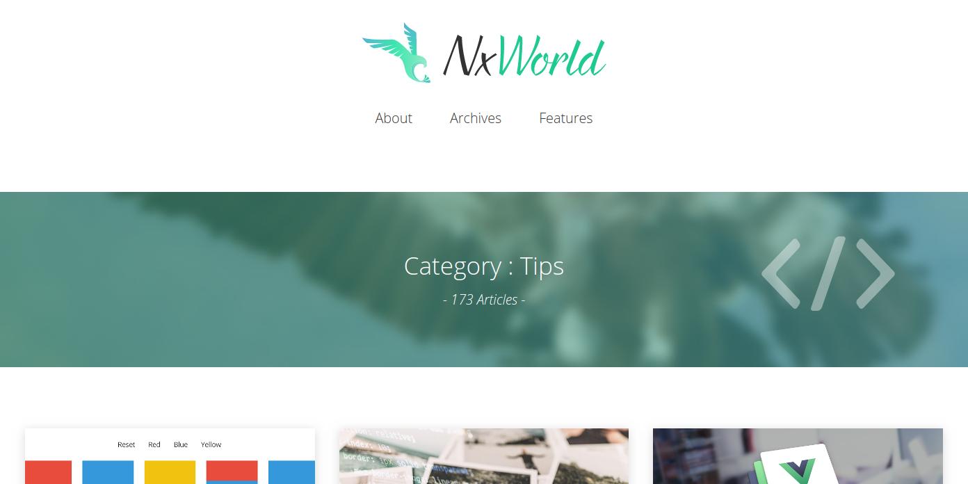 NxWorldのトップページ